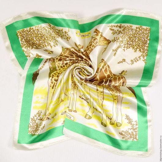 """Шали, палантины ручной работы. Ярмарка Мастеров - ручная работа. Купить """"Cтильный разноцветный шарфик""""-Модные шейные платочки(52x52). Handmade."""