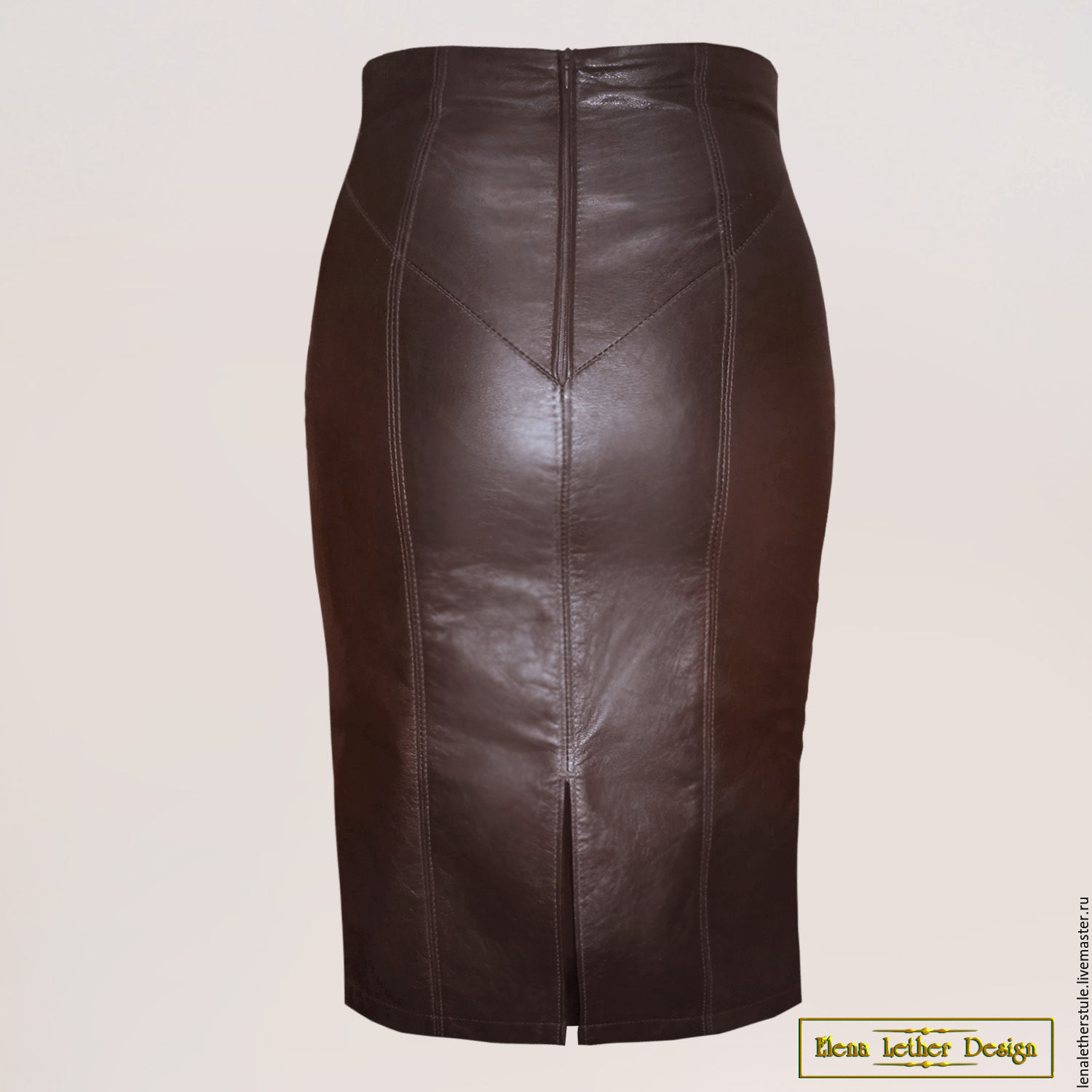 Buy Pencil skirt with high waist made of genuine leather or suede