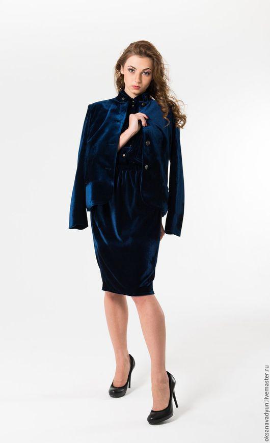Костюмы ручной работы. Ярмарка Мастеров - ручная работа. Купить Бархатный костюм. Handmade. Тёмно-синий, дизайнерская одежда