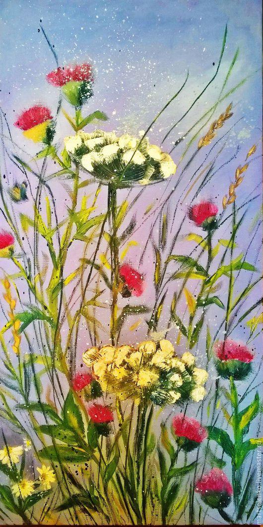 Картины цветов ручной работы. Ярмарка Мастеров - ручная работа. Купить Чертополох. Handmade. Комбинированный, картина для интерьера