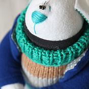 Куклы и игрушки ручной работы. Ярмарка Мастеров - ручная работа Зайцы. Заяц сине-бирюзовый. Handmade.