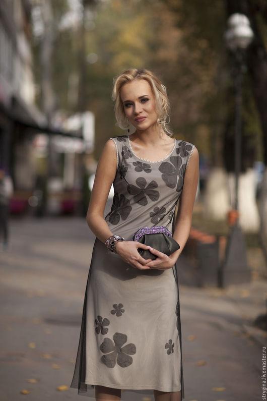 Платья ручной работы. Ярмарка Мастеров - ручная работа. Купить платье Petali. Handmade. Чёрно-белый, платье с вышивкой