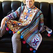 Одежда ручной работы. Ярмарка Мастеров - ручная работа Мексиканское пончо с помпонами. Handmade.