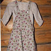 Платья ручной работы. Ярмарка Мастеров - ручная работа Комплект сарафан и блуза из льна для девочки. Handmade.