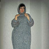 Одежда ручной работы. Ярмарка Мастеров - ручная работа Теплое вязаное платье-свитер голубое. Handmade.