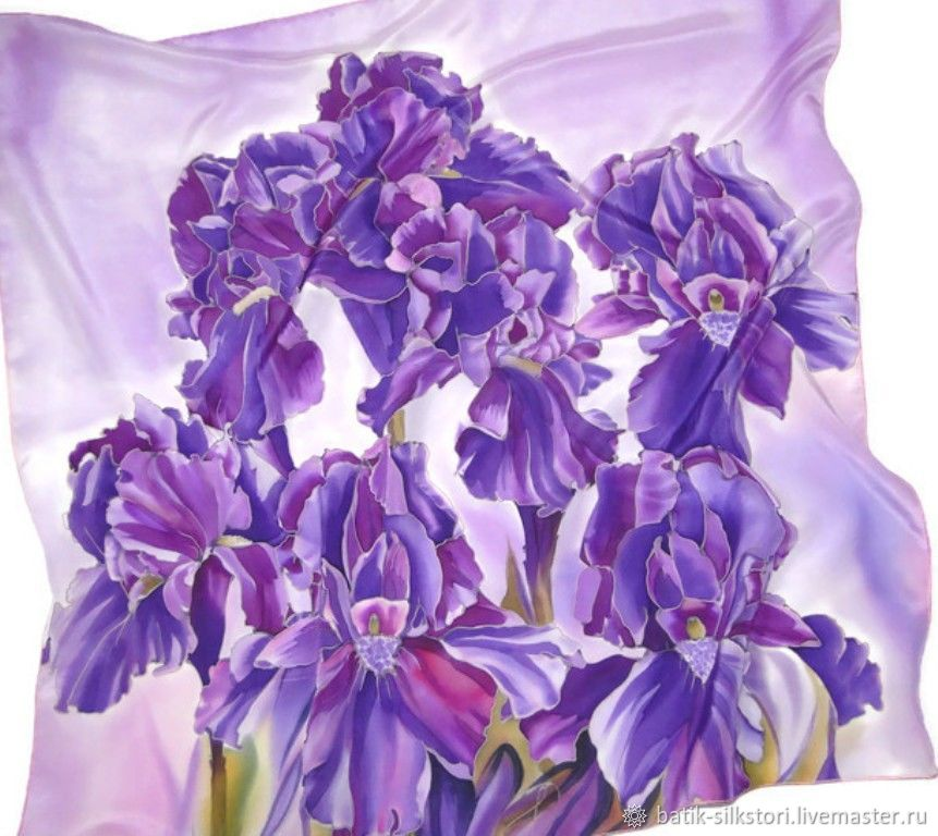Batik handkerchief Mysterious purple, Shawls1, Moscow,  Фото №1
