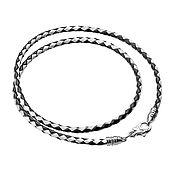 Украшения handmade. Livemaster - original item Leather Black / White Lace 3mm thick. Handmade.