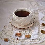Посуда ручной работы. Ярмарка Мастеров - ручная работа Чашка Лотос с бронзовым краем. Handmade.