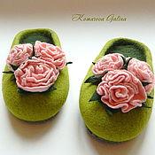 """Обувь ручной работы. Ярмарка Мастеров - ручная работа женские валяные тапочки """"Rosa Miniature"""". Handmade."""