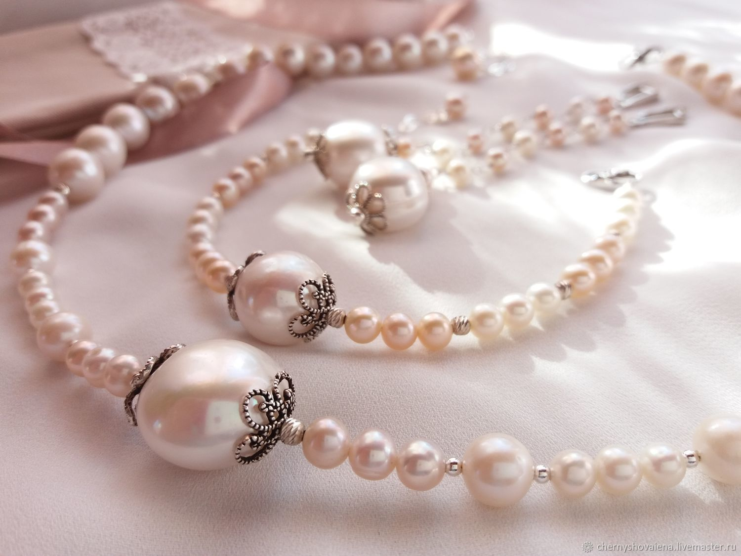 a3e1b093f Jewelry Sets handmade. Livemaster - handmade. Buy Set of pearl and 925  sterling silver ...