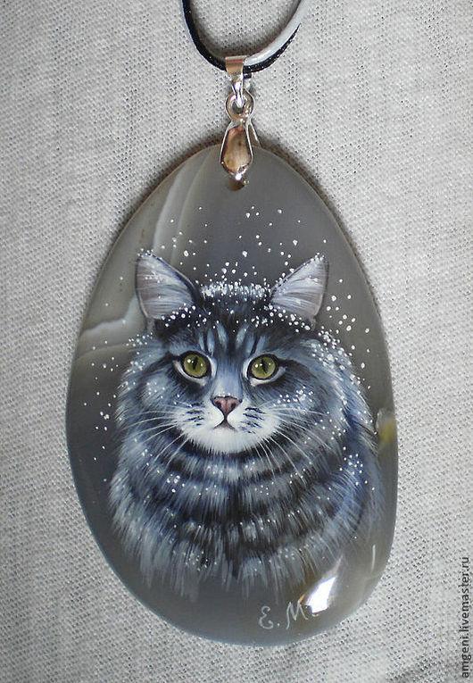 """Кулоны, подвески ручной работы. Ярмарка Мастеров - ручная работа. Купить Кулон """"Снежный кот"""". Handmade. Серый, кот"""