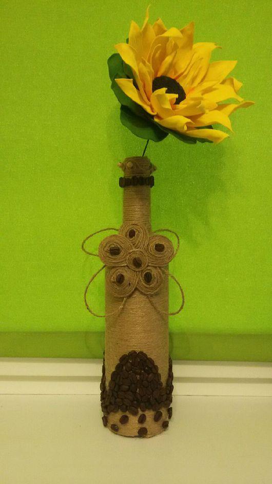 Декоративная посуда ручной работы. Ярмарка Мастеров - ручная работа. Купить Кофейный Декор бутылки. Handmade. Декор бутылки