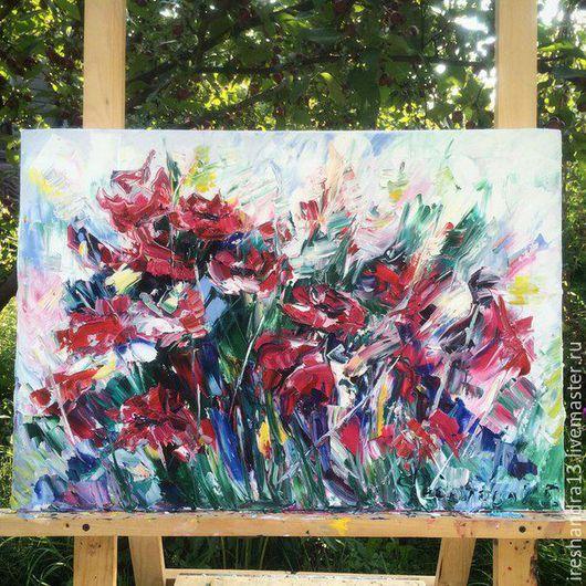 """Картины цветов ручной работы. Ярмарка Мастеров - ручная работа. Купить Картина маслом """"Маки"""". Handmade. Комбинированный, масло, цветы"""