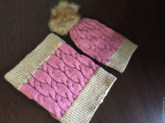Комплекты аксессуаров ручной работы. Ярмарка Мастеров - ручная работа. Купить Шапка с шарфом. Handmade. Розовый, шарф вязаный