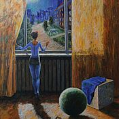 Картины и панно handmade. Livemaster - original item The girl at the window. 70h60 cm. Oil on canvas. 2019.. Handmade.