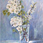 Картины и панно handmade. Livemaster - original item Oil painting Blooming pear still life. Handmade.