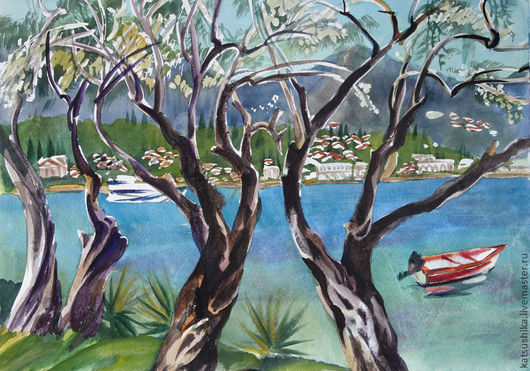 """Пейзаж ручной работы. Ярмарка Мастеров - ручная работа. Купить Акварель """"Оливы на берегу"""". Handmade. Синий, море, пляж, скалы"""