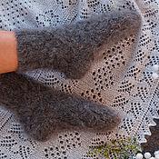 Аксессуары handmade. Livemaster - original item Down socks knitted grey. Handmade.