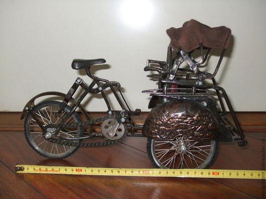 Винтажные куклы и игрушки. Ярмарка Мастеров - ручная работа. Купить Винтажный велосипед-рикша для куклы. Handmade. Коричневый, старинный велосипед