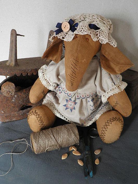 Игрушки животные, ручной работы. Ярмарка Мастеров - ручная работа. Купить Модистка. Handmade. Слон, винтажный стиль, льняной