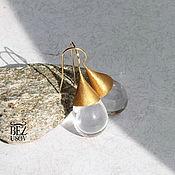 """Украшения handmade. Livemaster - original item Серьги Чешское стекло """"Капли в золоте"""" большие. Handmade."""