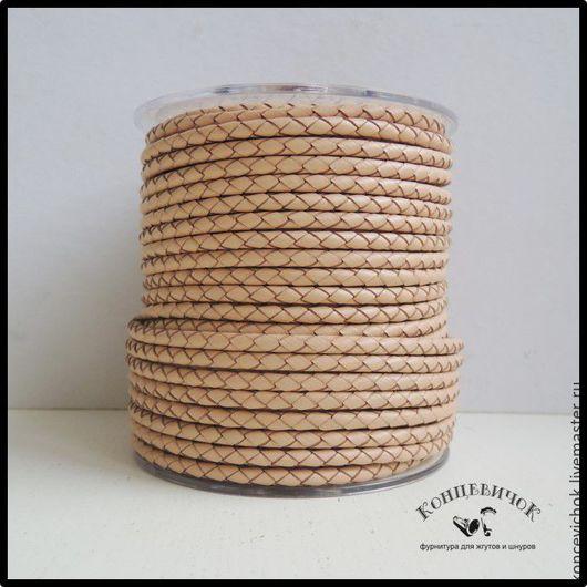 Для украшений ручной работы. Ярмарка Мастеров - ручная работа. Купить Персиковый Плетеный кожаный шнур 4мм Индия. Handmade.