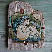 """Картины и панно ручной работы. Ярмарка Мастеров - ручная работа Панно """"Ангел с птицей"""". Handmade."""