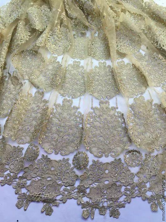 Шитье ручной работы. Ярмарка Мастеров - ручная работа. Купить Царское кружево, золотистая вышивка со стразами. Handmade. Ткань