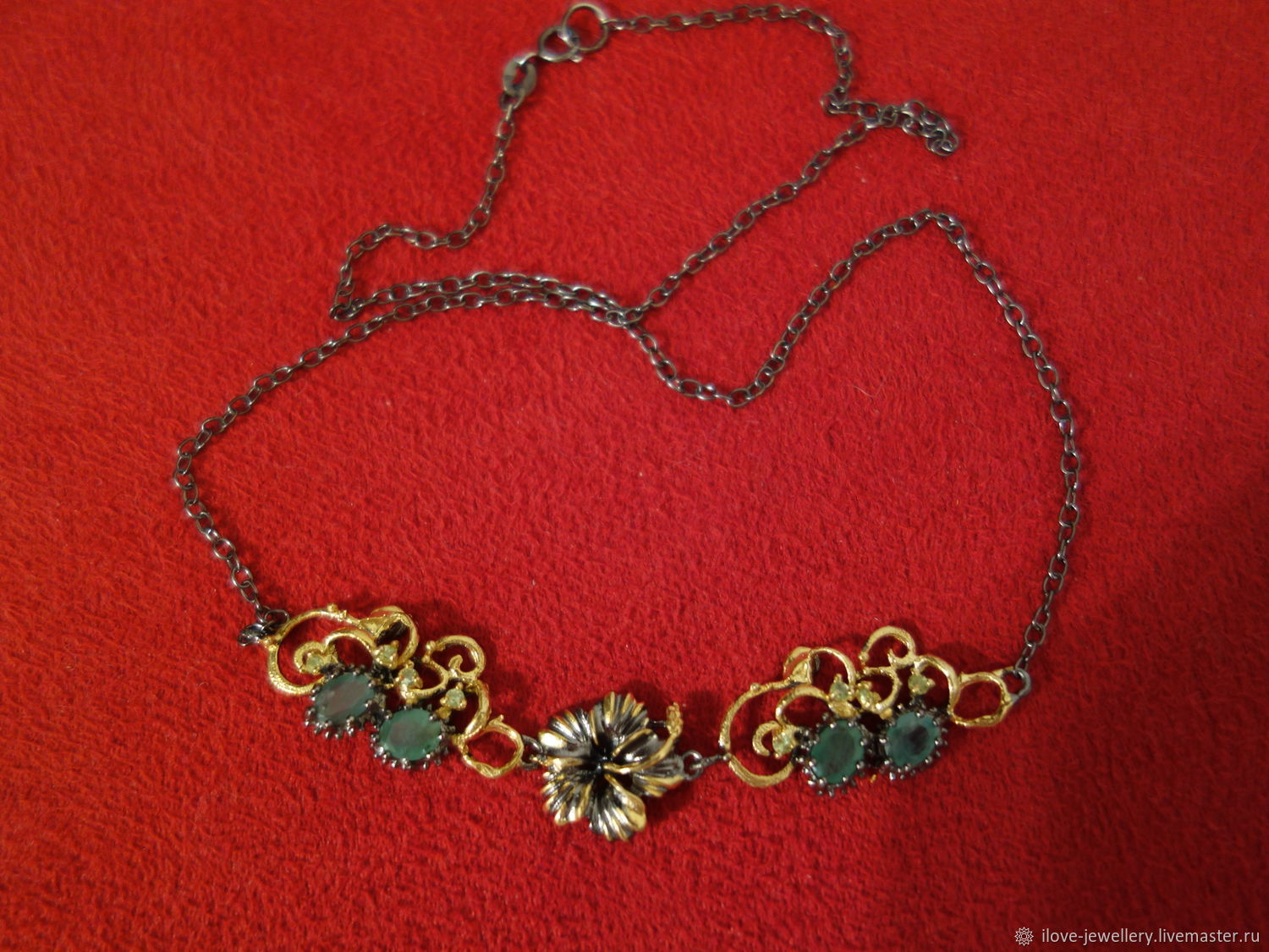 'Zara-stylish silver necklace with Colombian emeralds, Necklace, Moscow,  Фото №1