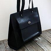 Классическая сумка ручной работы. Ярмарка Мастеров - ручная работа Сумка из натуральной кожи, черная кожаная сумка. Handmade.