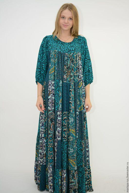 """Платья ручной работы. Ярмарка Мастеров - ручная работа. Купить Лоскутное платье """"Шкатулочка"""". Handmade. Тёмно-зелёный, лоскутное шитье"""