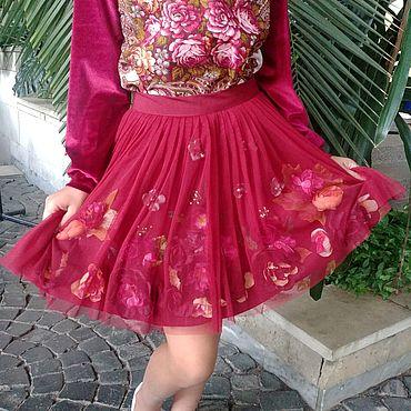 """Одежда ручной работы. Ярмарка Мастеров - ручная работа Цветочная юбка """"Марсала"""". Handmade."""