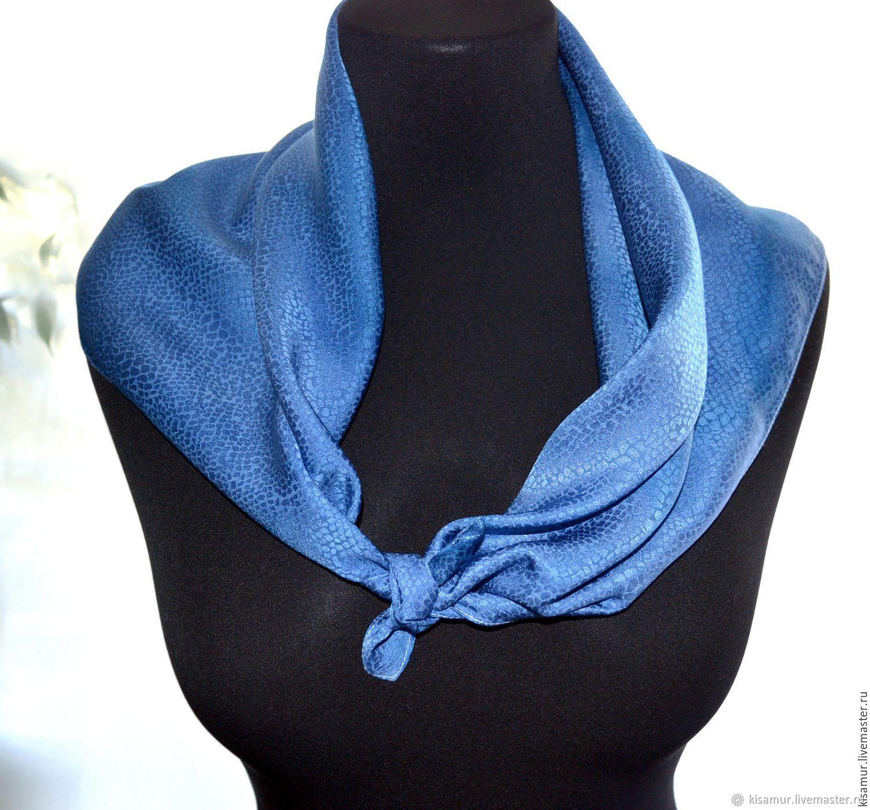 Shawl Neck grey blue color pearl luster jacquard pattern, Shawls1, Vyazma,  Фото №1