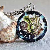 Украшения handmade. Livemaster - original item Marine pendant with shell,Mikrokanala and algae. Handmade.