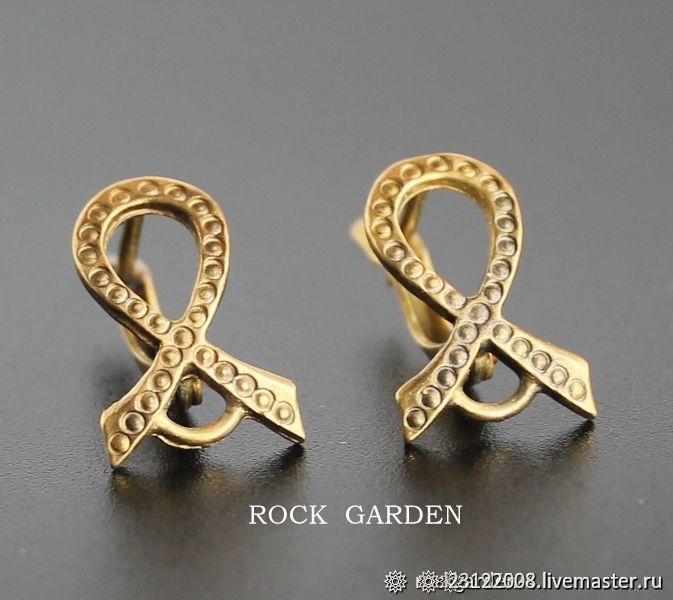Earrings (1-1) Russian Federation bronze 16h10mm English castle, Schwenzy, St. Petersburg,  Фото №1