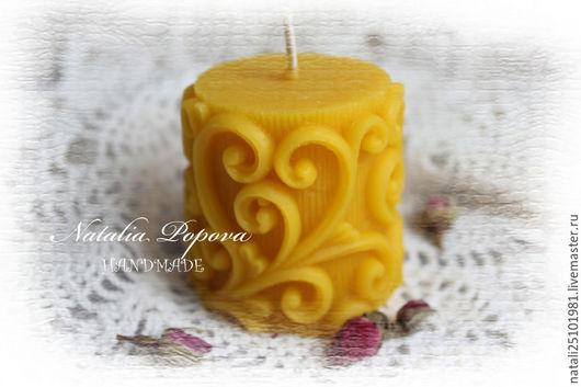 """Свечи ручной работы. Ярмарка Мастеров - ручная работа. Купить Свеча """"Морозные узоры"""". Handmade. Желтый, свечи на заказ, Свечи"""