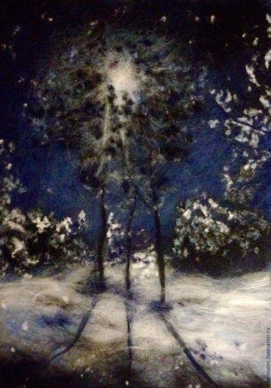 """Пейзаж ручной работы. Ярмарка Мастеров - ручная работа. Купить Картина из шерсти """"Зима. Ночь."""". Handmade. Комбинированный"""