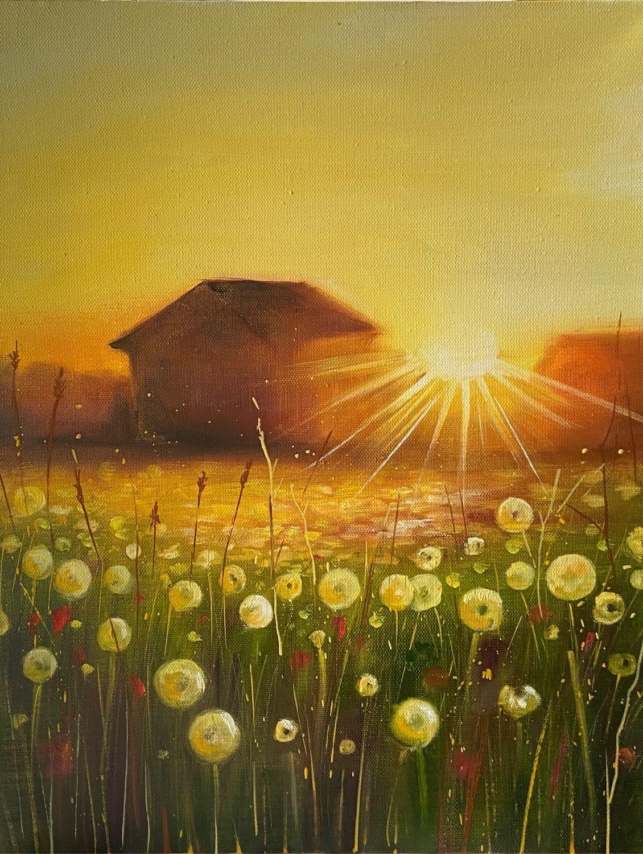 Одуванчики Солнечный пейзаж с домиком картина маслом, Картины, Кемерово,  Фото №1