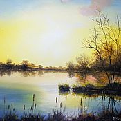 Картины и панно handmade. Livemaster - original item Oil painting Landscape _na rassvete,the author`s work. Handmade.