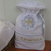 """Работы для детей, ручной работы. Ярмарка Мастеров - ручная работа Мешочек подарочный  -""""С Крещением"""". Handmade."""
