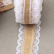 Материалы для творчества ручной работы. Ярмарка Мастеров - ручная работа тесьма с кружевом из мешковины, джут 5,5 см. Handmade.