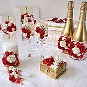 """Свадебный салон ручной работы. Ярмарка Мастеров - ручная работа Свадебный набор """"Золото и красный"""". Handmade."""