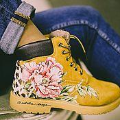Обувь ручной работы handmade. Livemaster - original item Painting customizing shoes. Timberland printed boots. Handmade.
