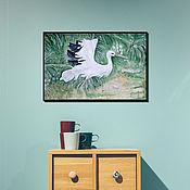 """Картины ручной работы. Ярмарка Мастеров - ручная работа Картина акварель, птица. """"Танец журавля"""". Handmade."""