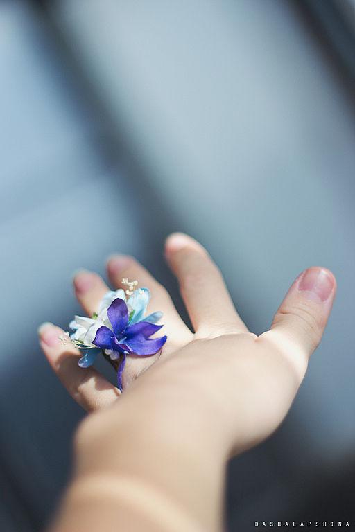 Кольца ручной работы. Ярмарка Мастеров - ручная работа. Купить Колечко Blue flowers. Handmade. Женское колечко, цветы, нежность