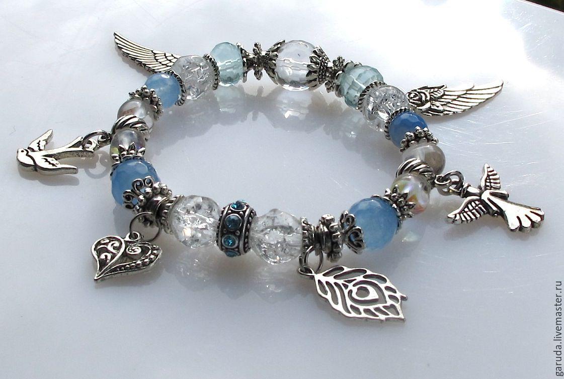 B2 Bracelet with blue agate, quartz and aquamarine, Bead bracelet, Ubud,  Фото №1