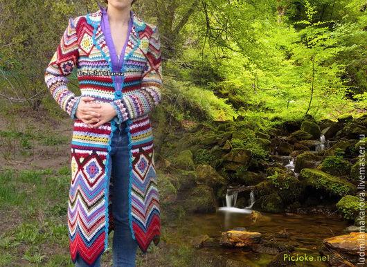 """Верхняя одежда ручной работы. Ярмарка Мастеров - ручная работа. Купить Пальто  в стиле """"Миссони"""". Handmade. Разноцветный, пальто вязаное"""