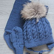 Аксессуары handmade. Livemaster - original item Knitted winter set. Handmade.