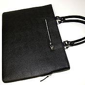 Сумки и аксессуары handmade. Livemaster - original item Bag-folder female. Black textured calf leather.. Handmade.