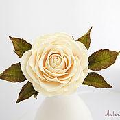 Украшения ручной работы. Ярмарка Мастеров - ручная работа Зажим для волос со светло-кремовой розой. Handmade.